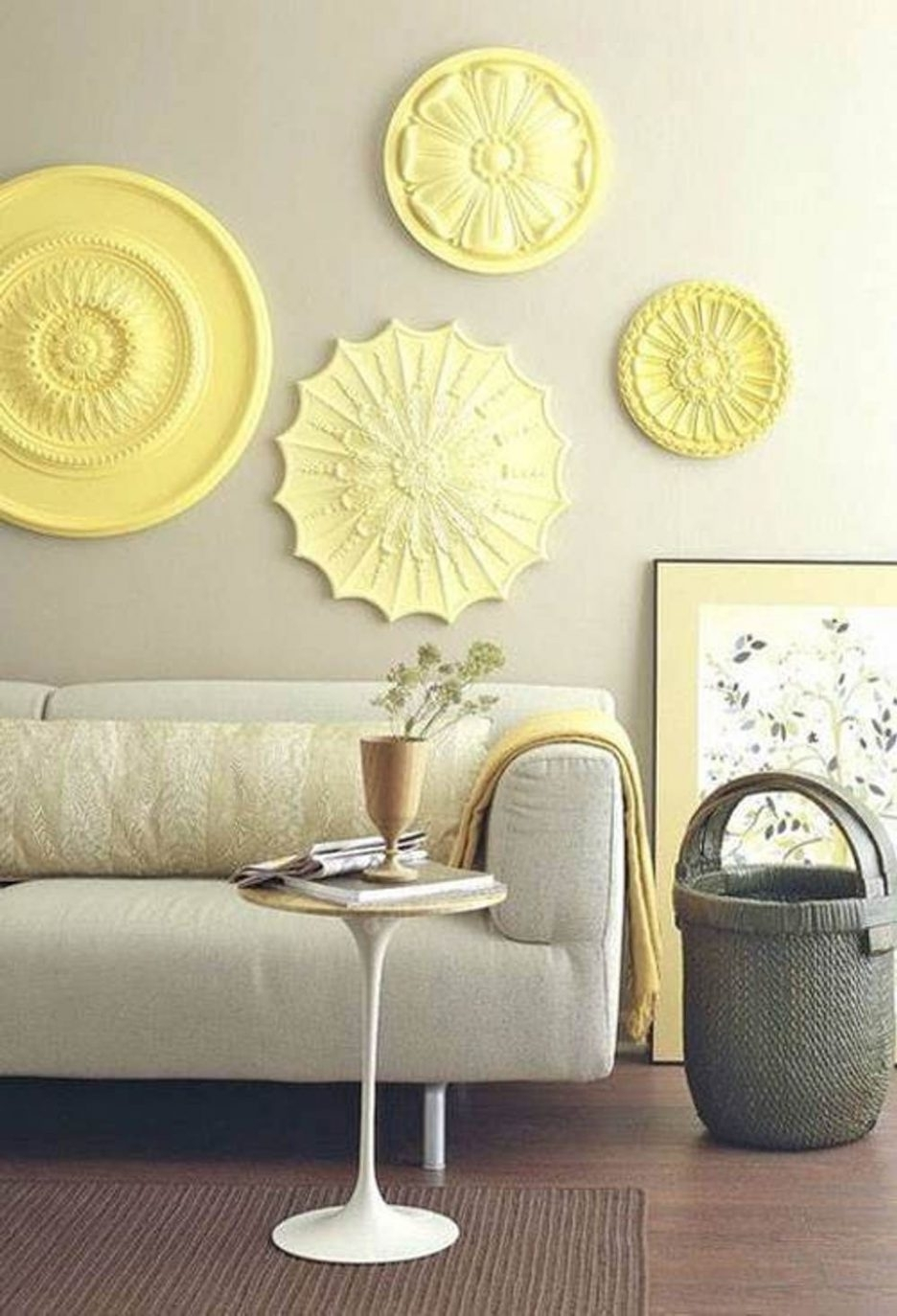 Living Room : Wonderful Wall Art Ideas For Living Room With Yellow With Recent Large Round Wall Art (View 7 of 15)