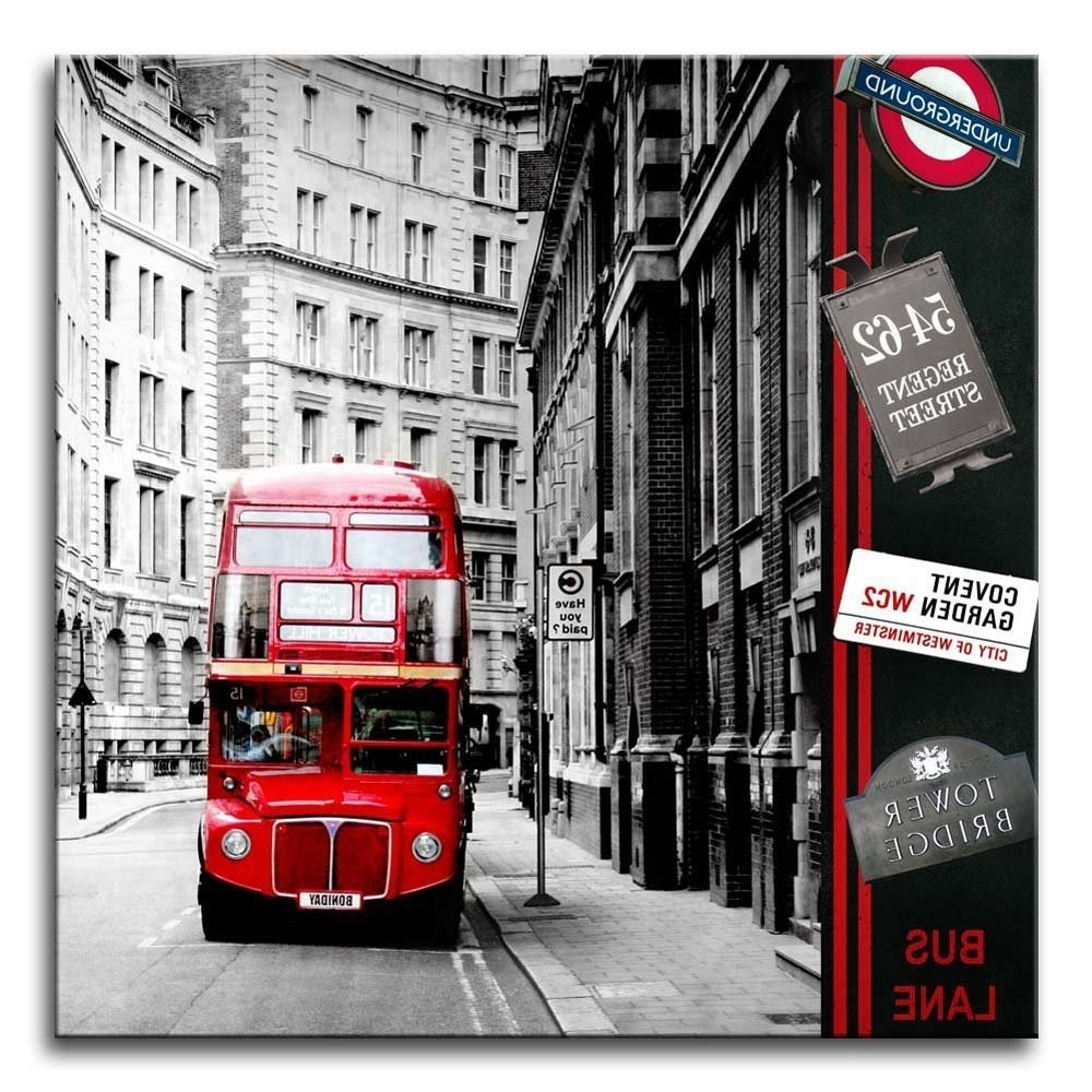 London Scene Wall Art Regarding Famous Amazon: Canvas Print Wall Art Painting London Street Scene Red (View 9 of 15)
