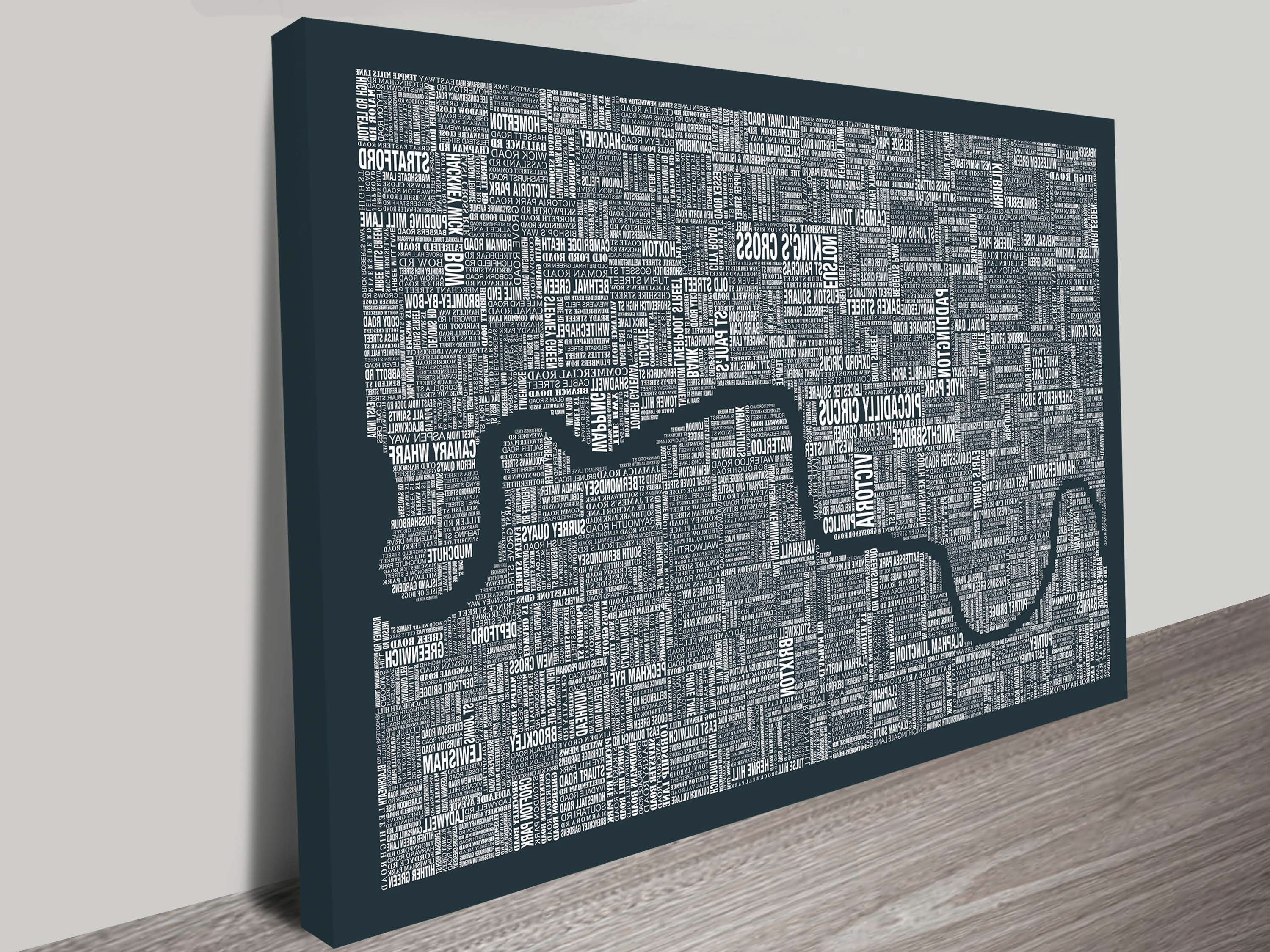 London Word Map Wall Artblue Horizon Prints Inside Trendy Maps For Wall Art (View 15 of 15)