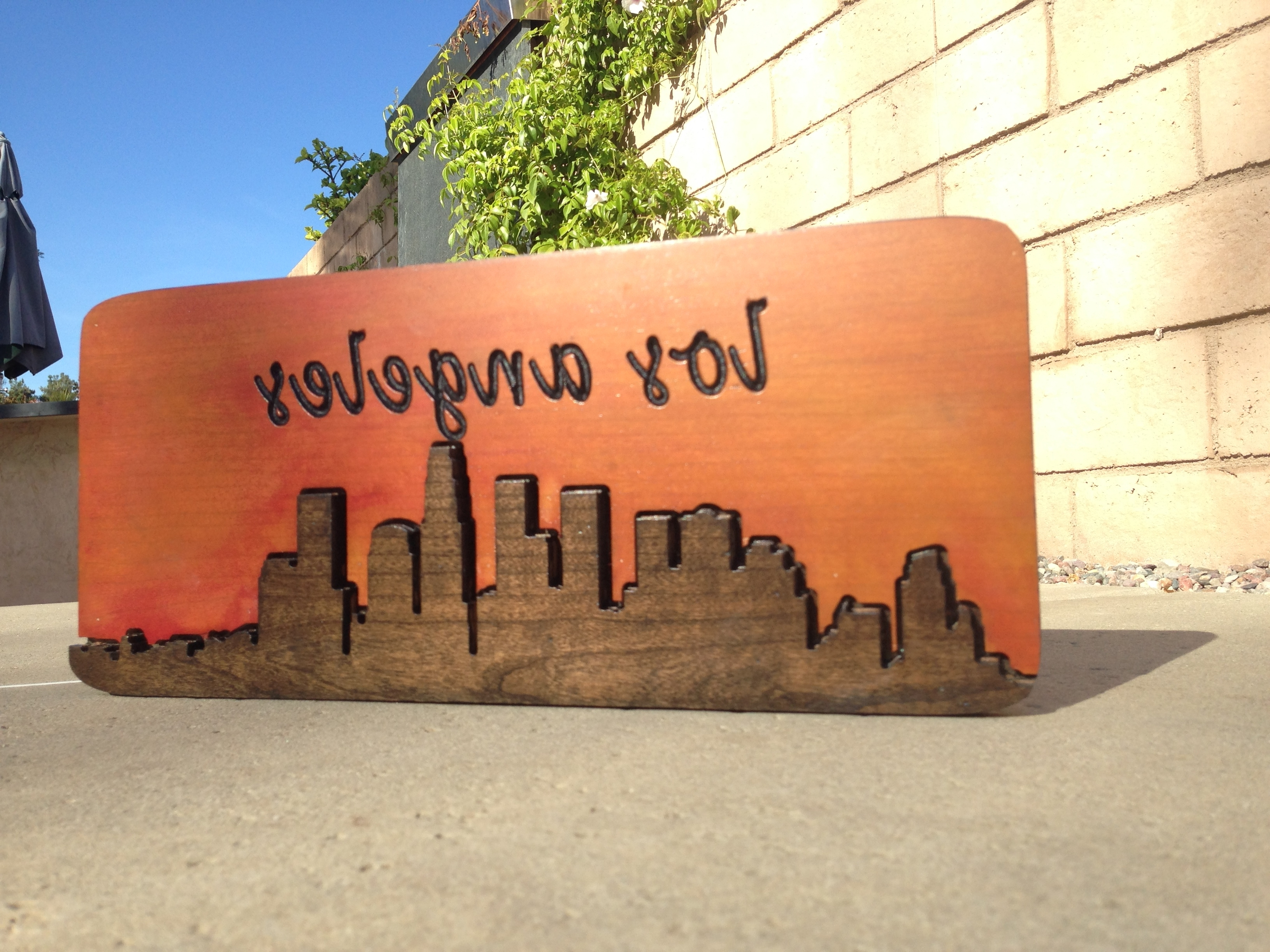 Los Angeles Wall Art With Regard To Most Up To Date Downtown Los Angeles City Scape – Hand Made Wood Sign – Wood Wall (View 9 of 15)