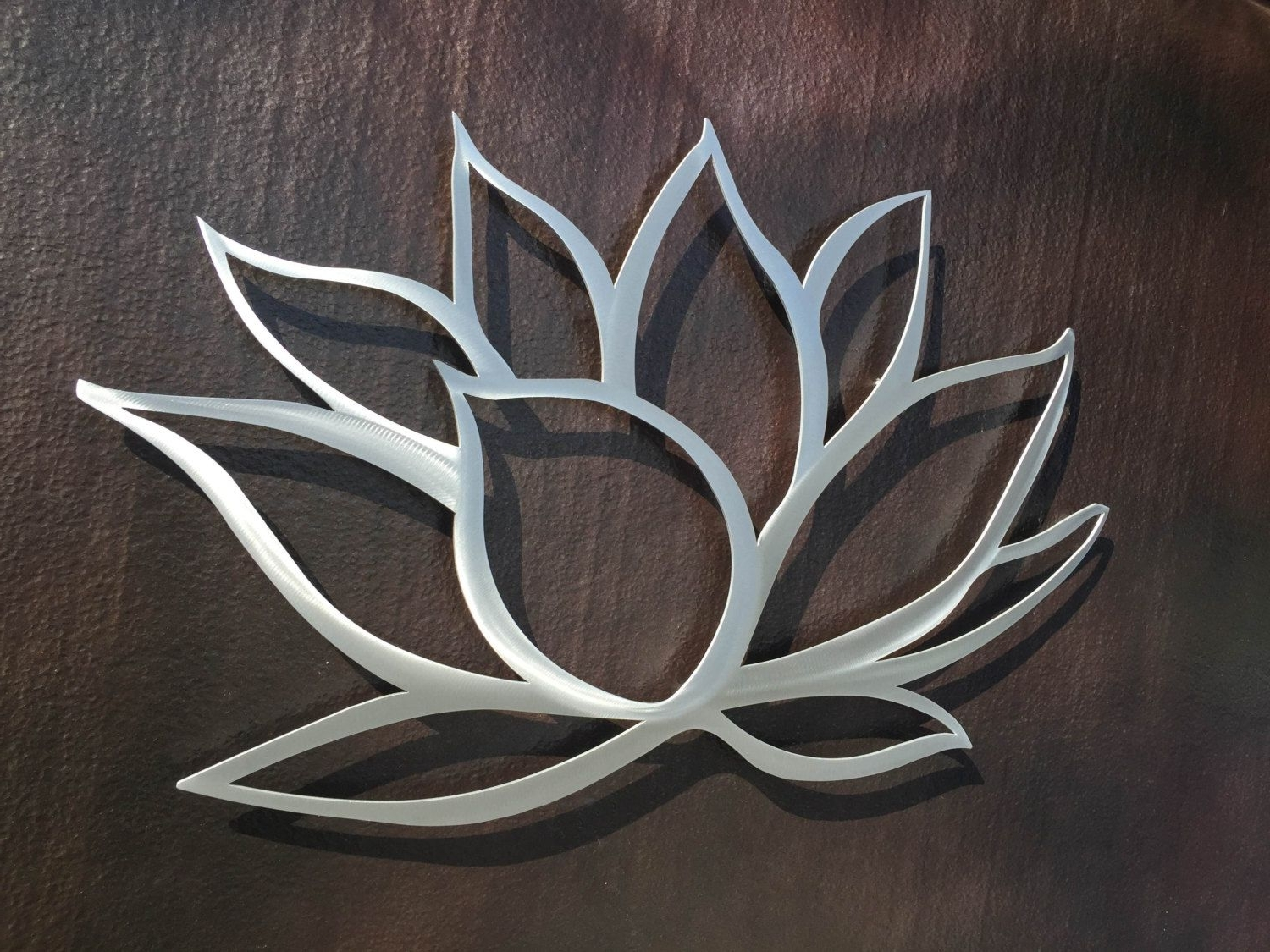 Lotus Flower Metal Wall Art – Lotus Metal Art – Home Decor In For Newest Large Metal Art (View 7 of 15)