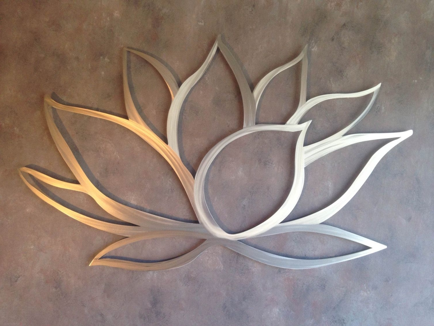 Lotus Flower Metal Wall Art – Lotus Metal Art – Home Decor – Metal Regarding Latest Large Metal Art (View 6 of 15)