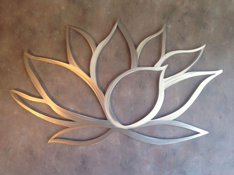 Lotus Flower Metal Wall Art – Lotus Metal Art – Home Decor – Metal Regarding Latest Large Metal Art (View 13 of 15)