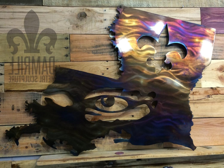Louisiana Lsu / Saints Metal Art Boot Fleur De – 2015 Super Bowl Intended For Trendy Lsu Wall Art (View 10 of 15)