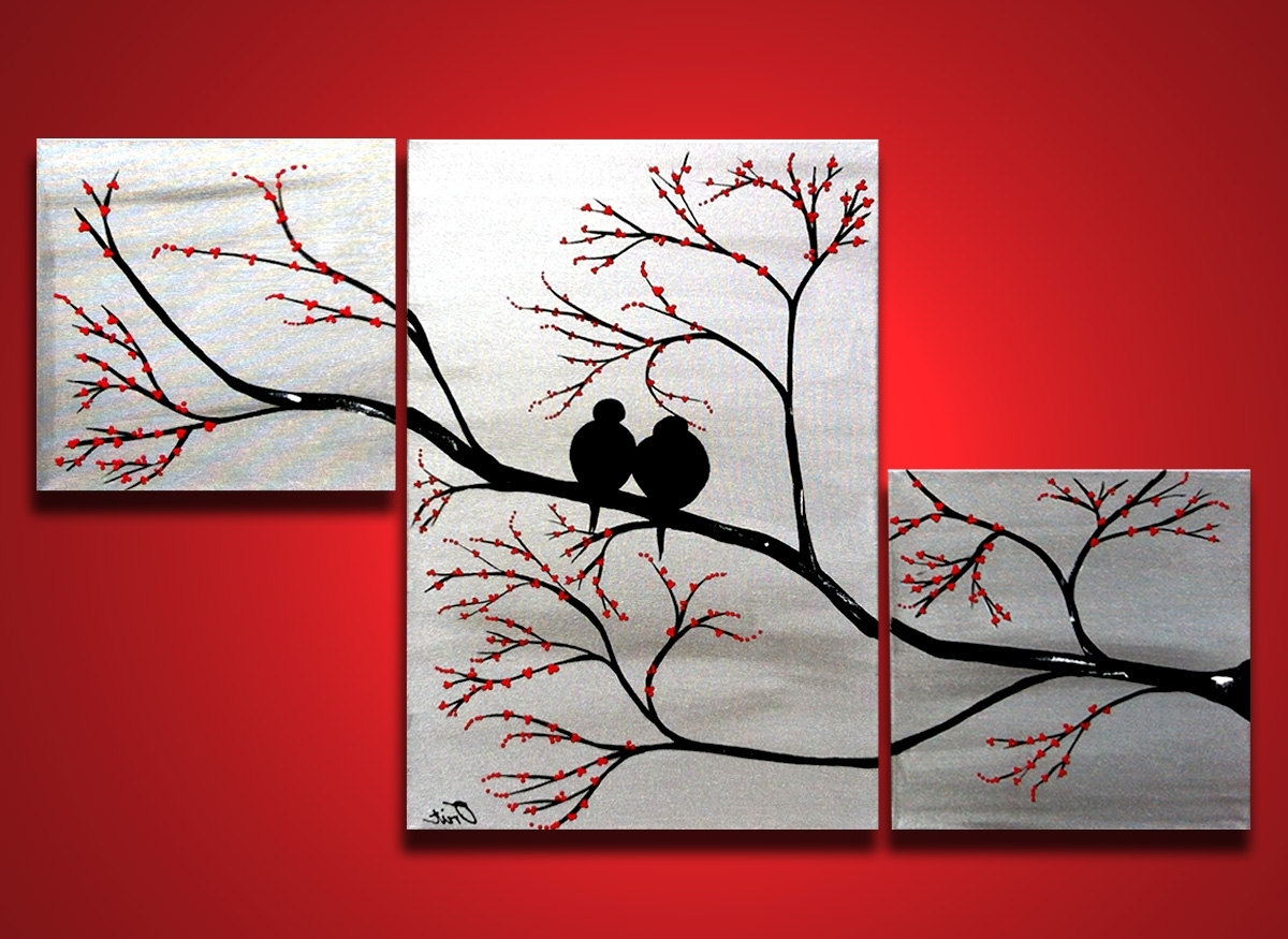 Love Birds In Tree Brance, Original Large Wall Art 40 X 24, Silver Intended For Recent Large Triptych Wall Art (View 5 of 15)