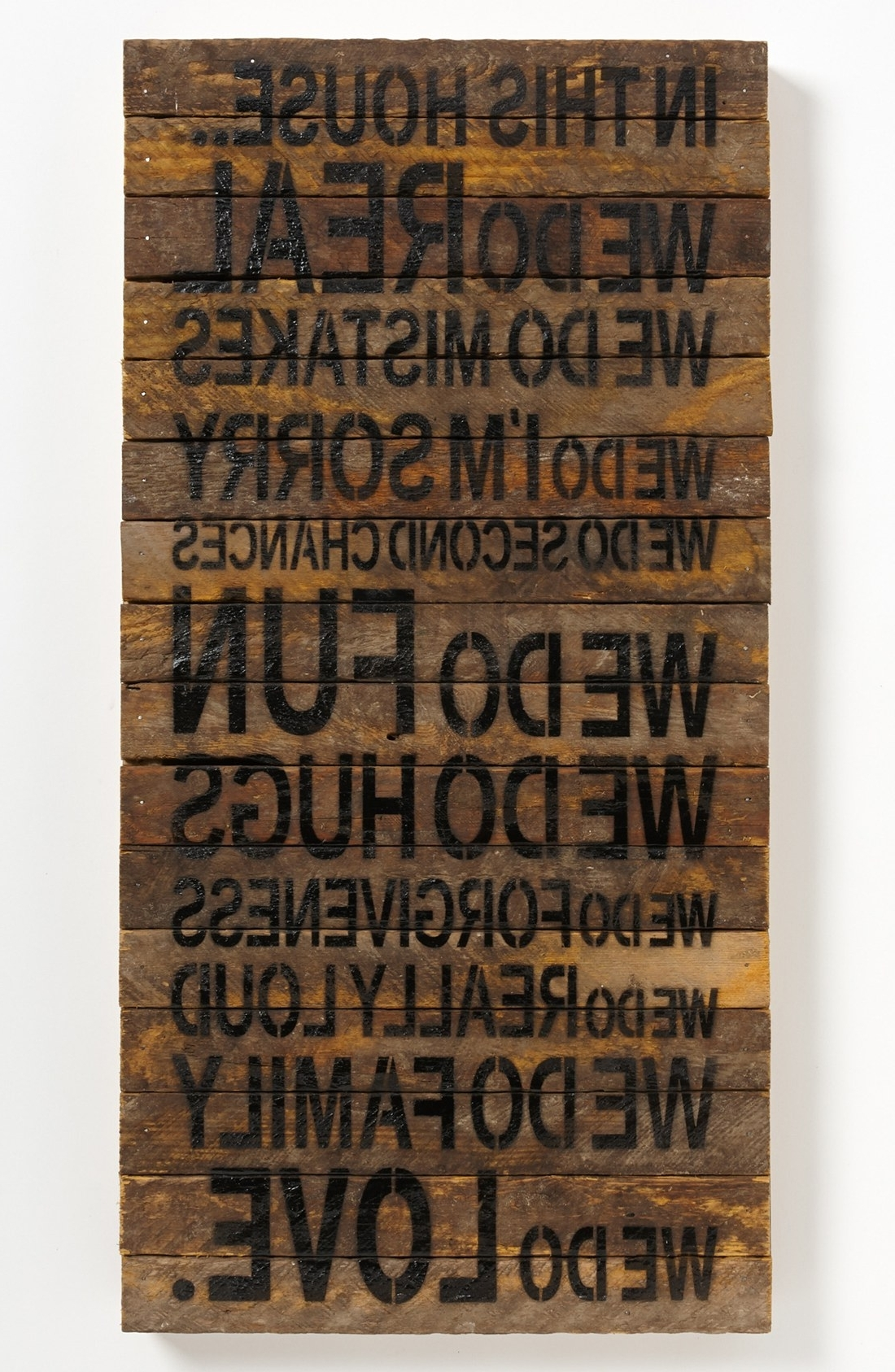 "Loving This Rustic Wall Art With The Quote, ""in This House We Pertaining To Trendy Wooden Word Wall Art (View 6 of 15)"