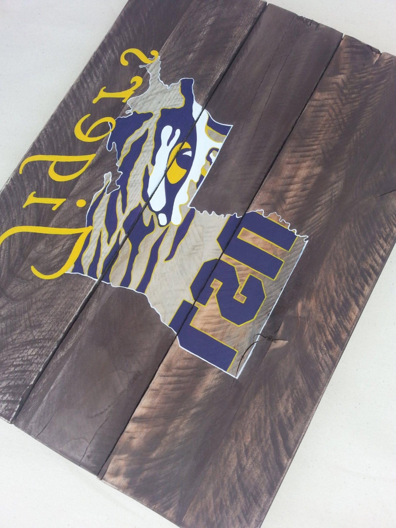 Lsu Tiger Eye Hand Painted Pallet Art Or Pallet Sign Original In Most Recent Lsu Wall Art (View 7 of 15)