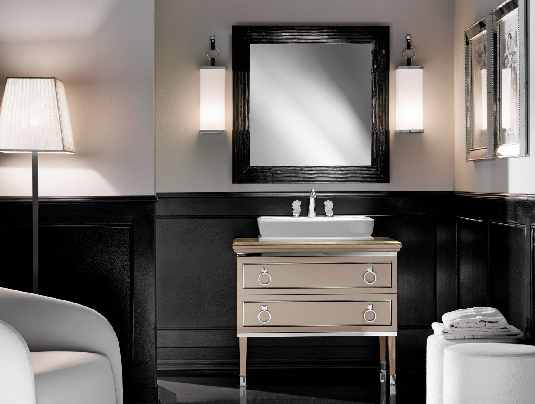 Lutetia L12 Traditional Italian Art Deco Bathroom Vanity Beige Lacquer Regarding Favorite Italian Wall Art For Bathroom (View 6 of 15)