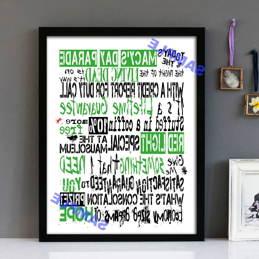 """Macys Wall Art With Regard To Most Current Macy's Day Parade"""" Green Day – Framed Lyrics Wall Art Design (View 3 of 15)"""
