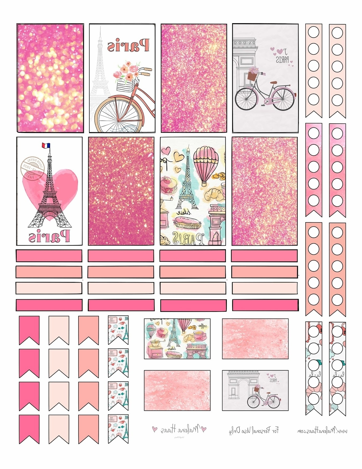 Malena Haas: ❤Freebie Friday❤ Paris Themed Planner Stickers For Favorite Paris Themed Stickers (View 4 of 15)