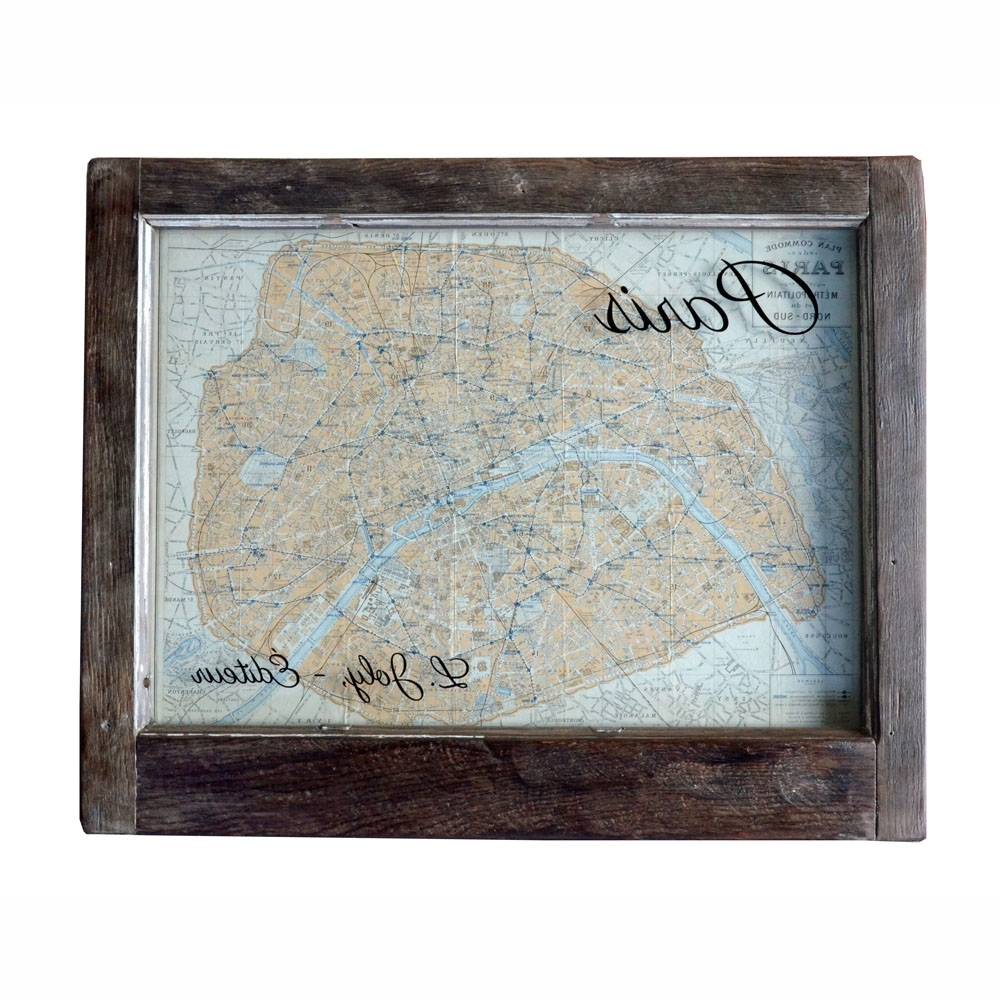 Map Of Paris Wall Art Pertaining To 2018 Vintage Paris Map Wall Art Window Art (View 8 of 15)