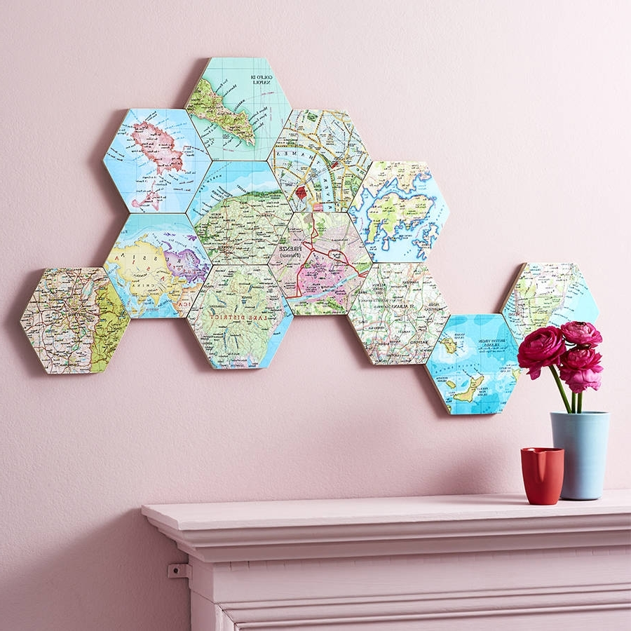 Maps For Wall Art Pertaining To Famous Map Location Hexagon Collectible Wall Artbombus (View 13 of 15)