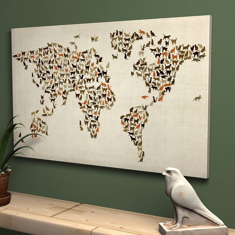 Maps For Wall Art Pertaining To Fashionable World Map Wall Art Ideas • Walls Ideas (View 3 of 15)