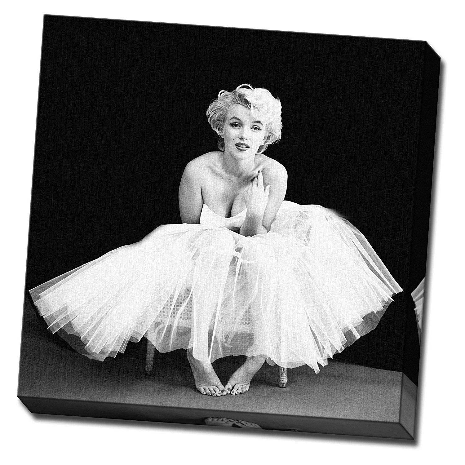 "Marilyn Monroe Black And White Wall Art In 2017 Marilyn Monroe Canvas Black & White 20""x20"" Large Framed Picture (View 3 of 15)"