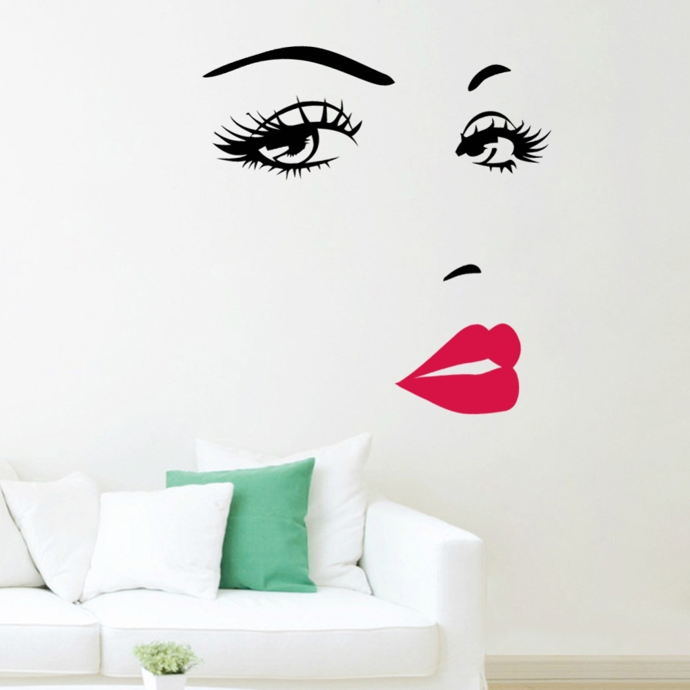 Marilyn Monroe Wall Art Intended For Trendy Marilyn Monroe Red Lips Vinyl Wall Stickers Art Mural Home Decor (View 5 of 15)