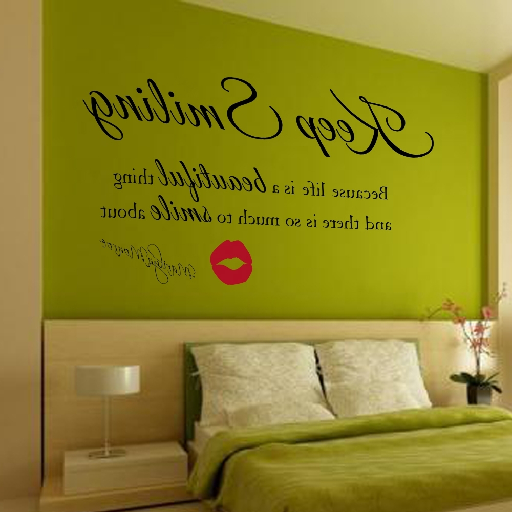 Marilyn Monroe Wall Decal Keep Smiling Wall Stickers Beautiful Regarding Best And Newest Marilyn Monroe Wall Art Quotes (View 9 of 15)