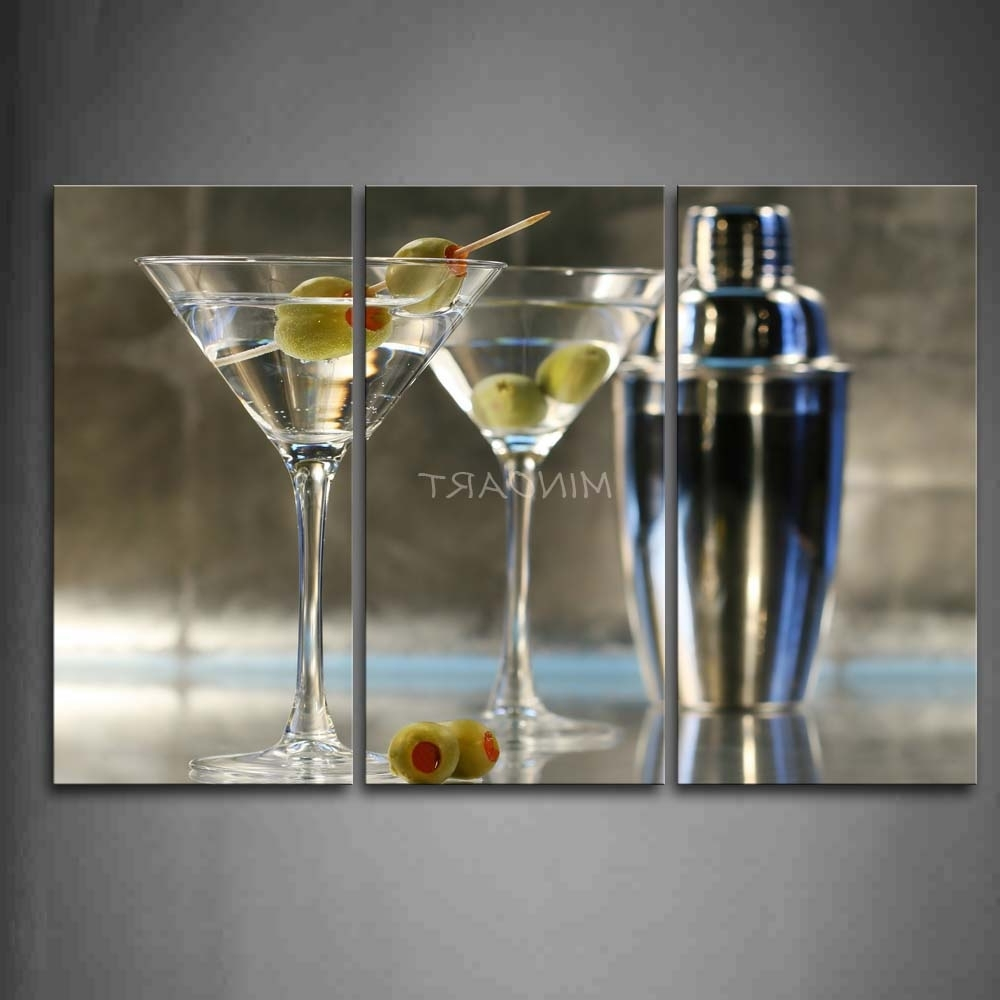 Martini Glass Wall Art With Regard To Preferred 3 Piece Wall Art Painting Cocktail With Glasses And Adjustable (View 6 of 15)