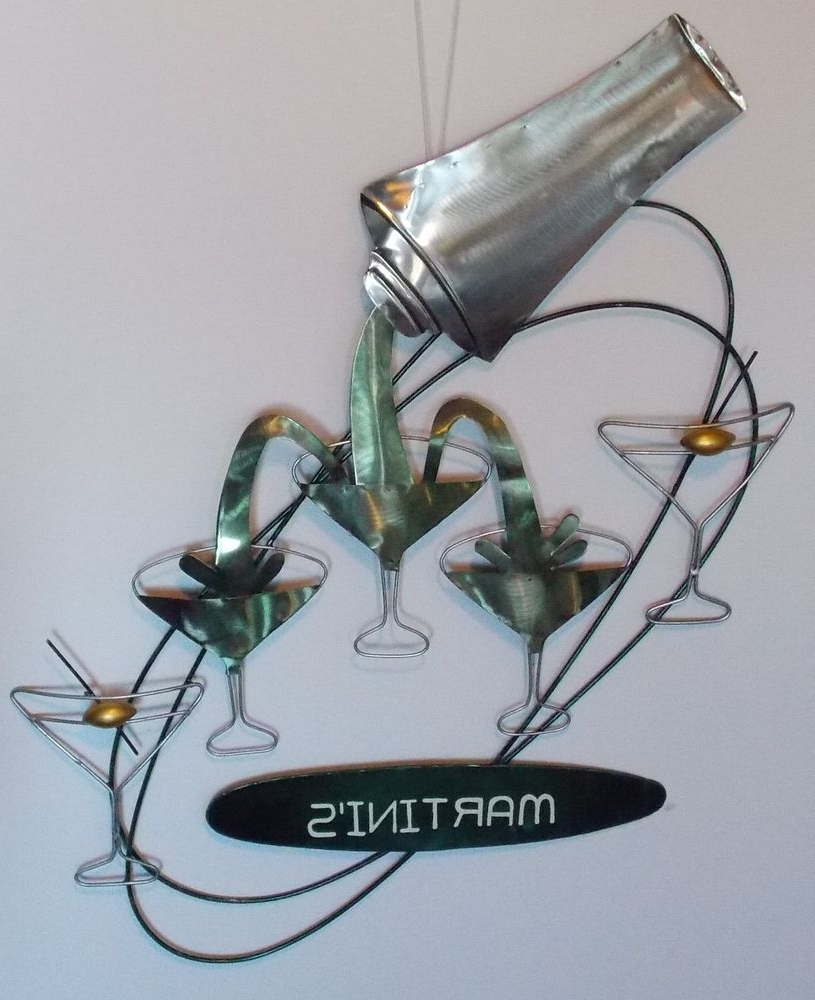 Martini's Bar Sign Metal 3D Cocktail Shaker Glasses Martini Olive For Best And Newest Martini Metal Wall Art (View 7 of 15)