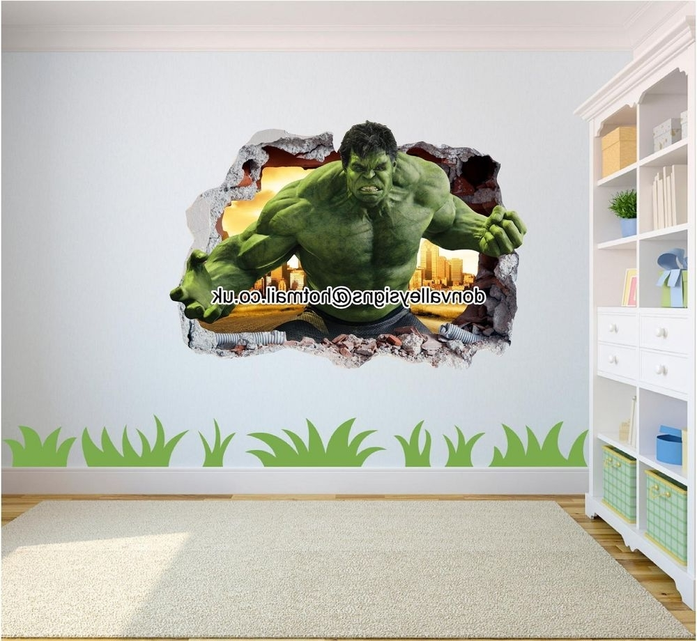 Marvel Avengers Hulk Smash 3d Wall Art Sticker Mural Iron Man Capt Regarding Preferred Iron Man 3d Wall Art (View 4 of 15)