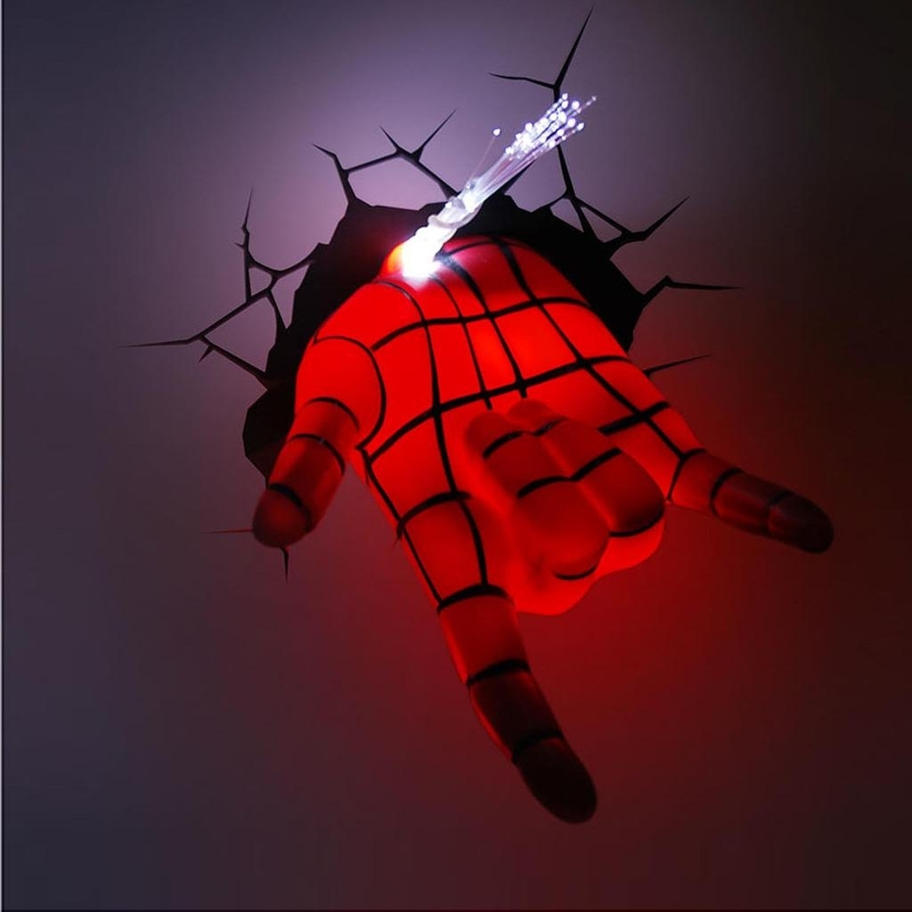 Marvel Avengers Spider Man Hand 3d Deco Wall Led Night Light Art Regarding Popular The Avengers 3d Wall Art Nightlight (View 4 of 15)