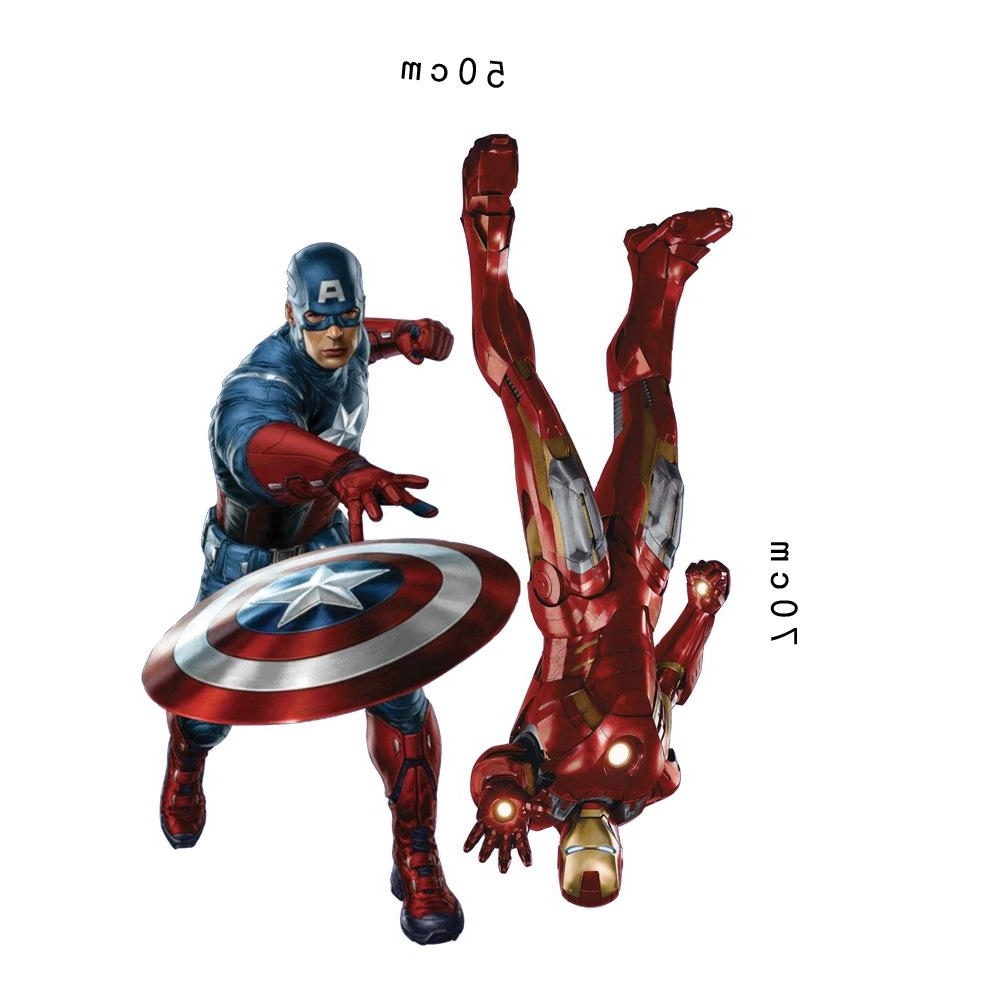 Marvel's The Avengers Iron Man Captain America Wall Sticker Decals Regarding Newest Captain America 3d Wall Art (View 3 of 15)