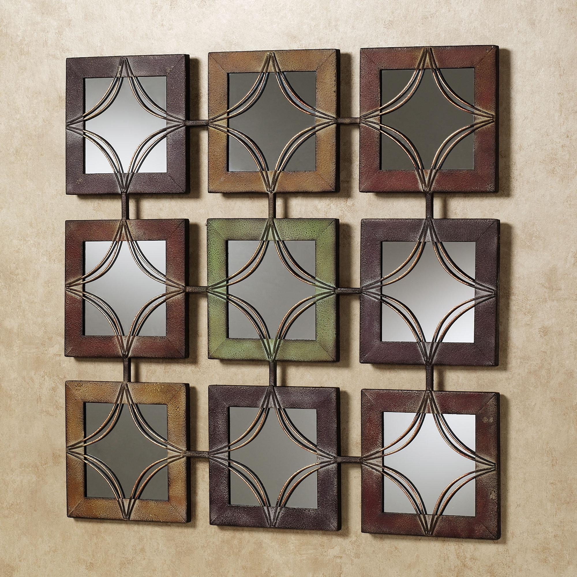 Matching Wall Art Inside Most Popular Wall Art Decor: Domini Metal Mirrored Wall Art Textured Square (View 5 of 15)