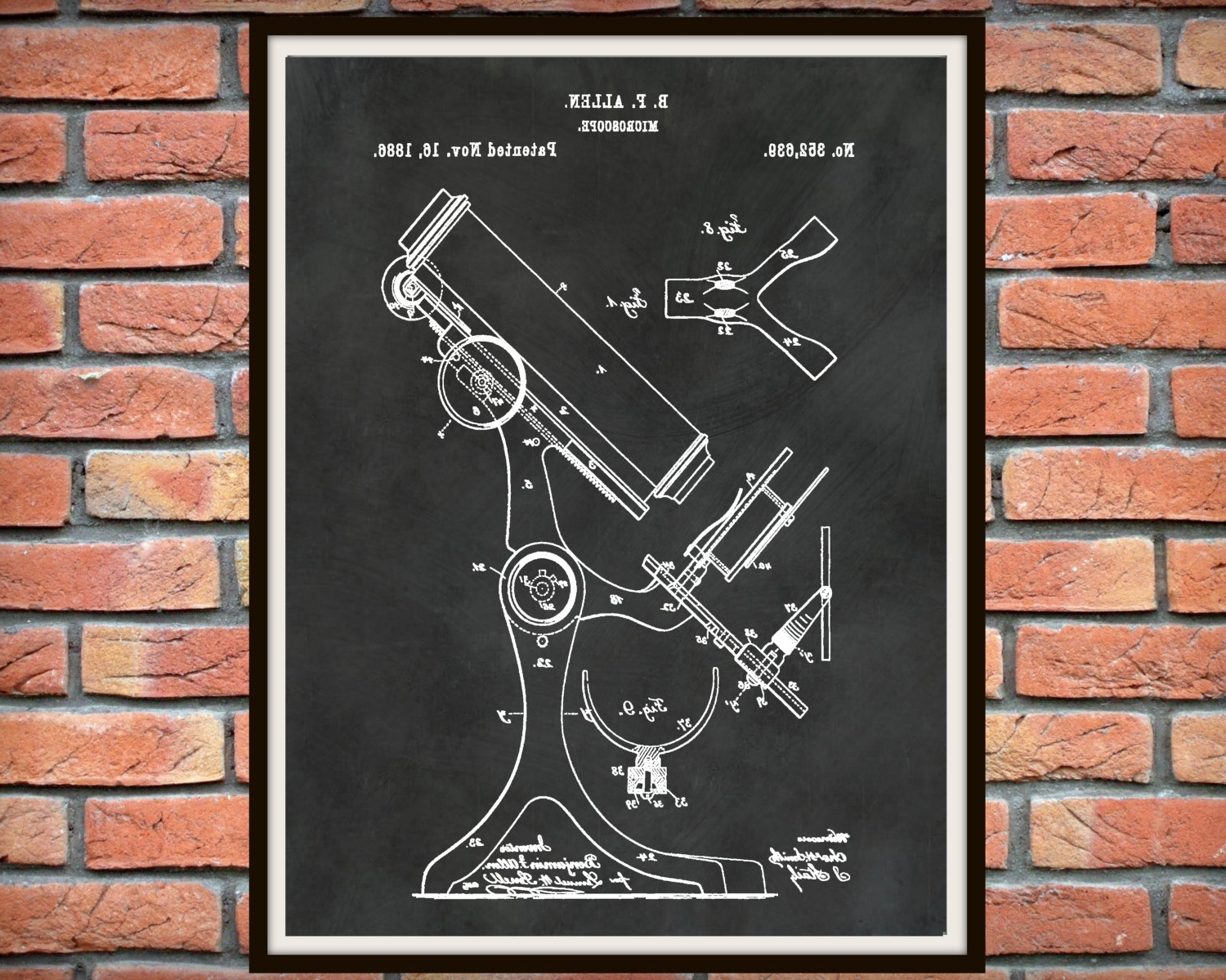 Medical Wall Art Regarding Well Known Patent 1886 Microscope – Art Print – Poster – Medical – Doctors (View 3 of 15)