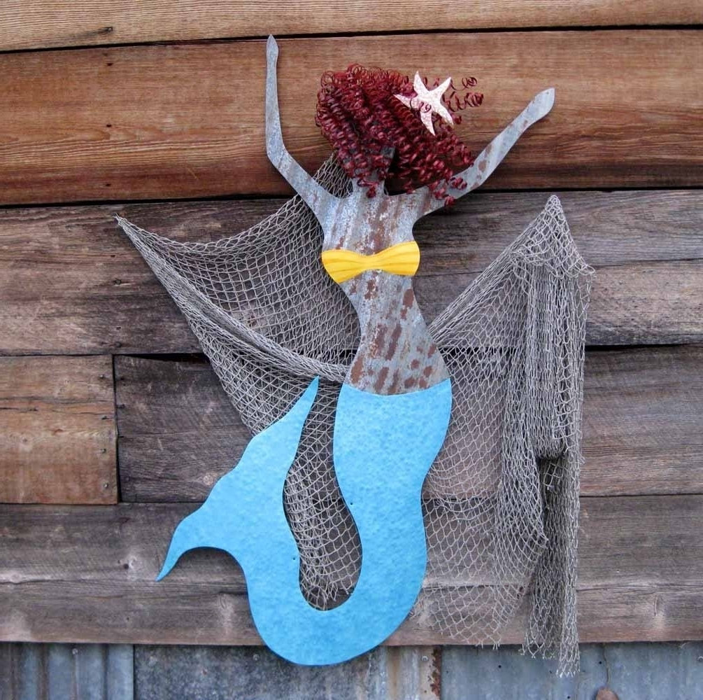 Mermaid Wood Wall Art For 2018 Hand Crafted Handmade Upcycled Extra Large Metal Mermaid Wall Art (View 5 of 15)