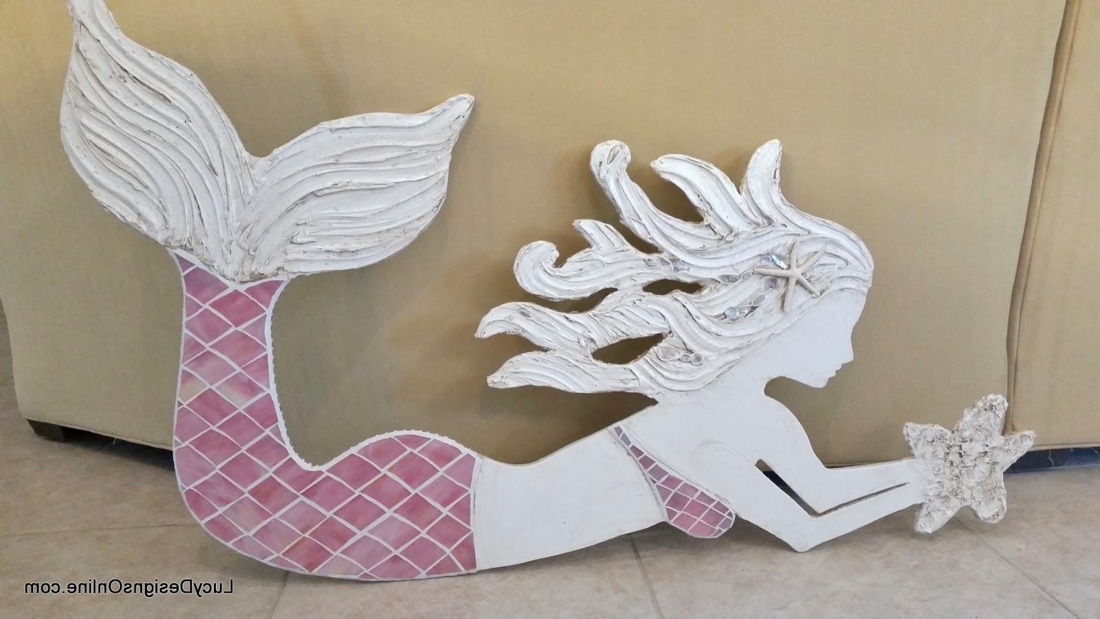 Mermaid Wood Wall Art Intended For Trendy Wooden Mermaid Wall Art (View 3 of 15)