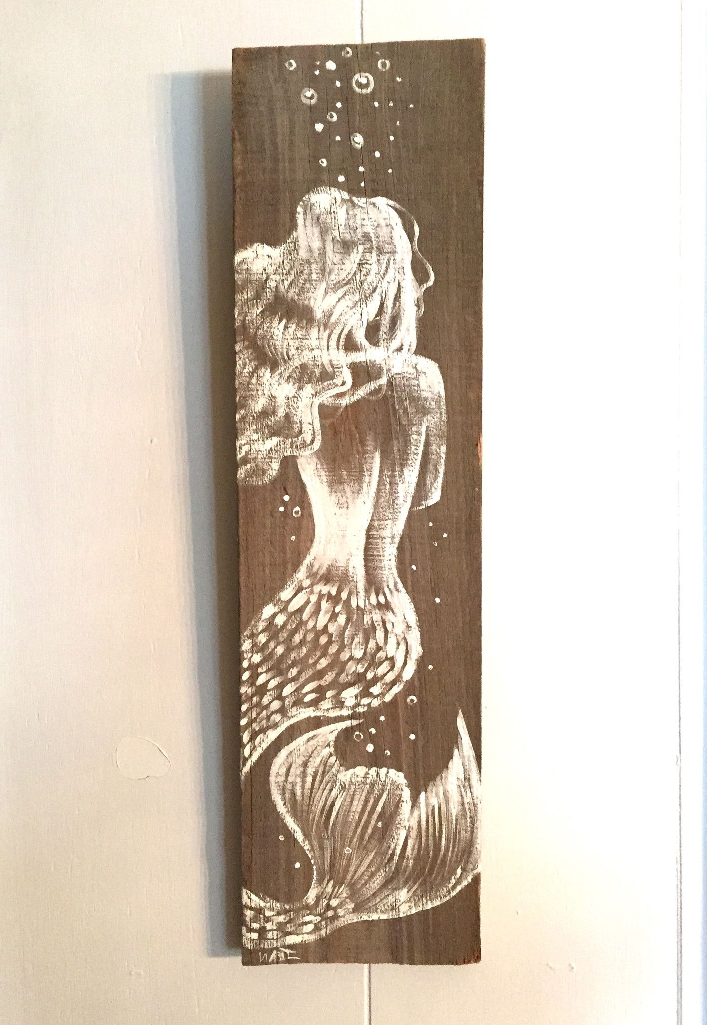 Mermaid Wood Wall Art Throughout Most Recently Released Reclaimed Florida Wood Amazing Hand Painted Mermaid On Distressed (View 13 of 15)