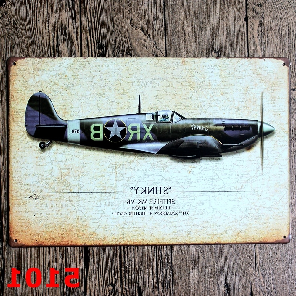 Metal Airplane Wall Art Throughout Well Liked Wwii Bombardment Aircraft Vintage Home Decor Tin Sign Wall Decor (View 14 of 15)