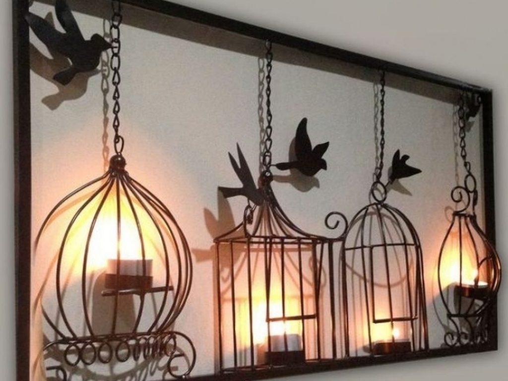 Metal Birdcage Wall Art Inside Newest Astounding Design Birdcage Wall Decor With 25 Tea Light Art Metal (View 2 of 15)