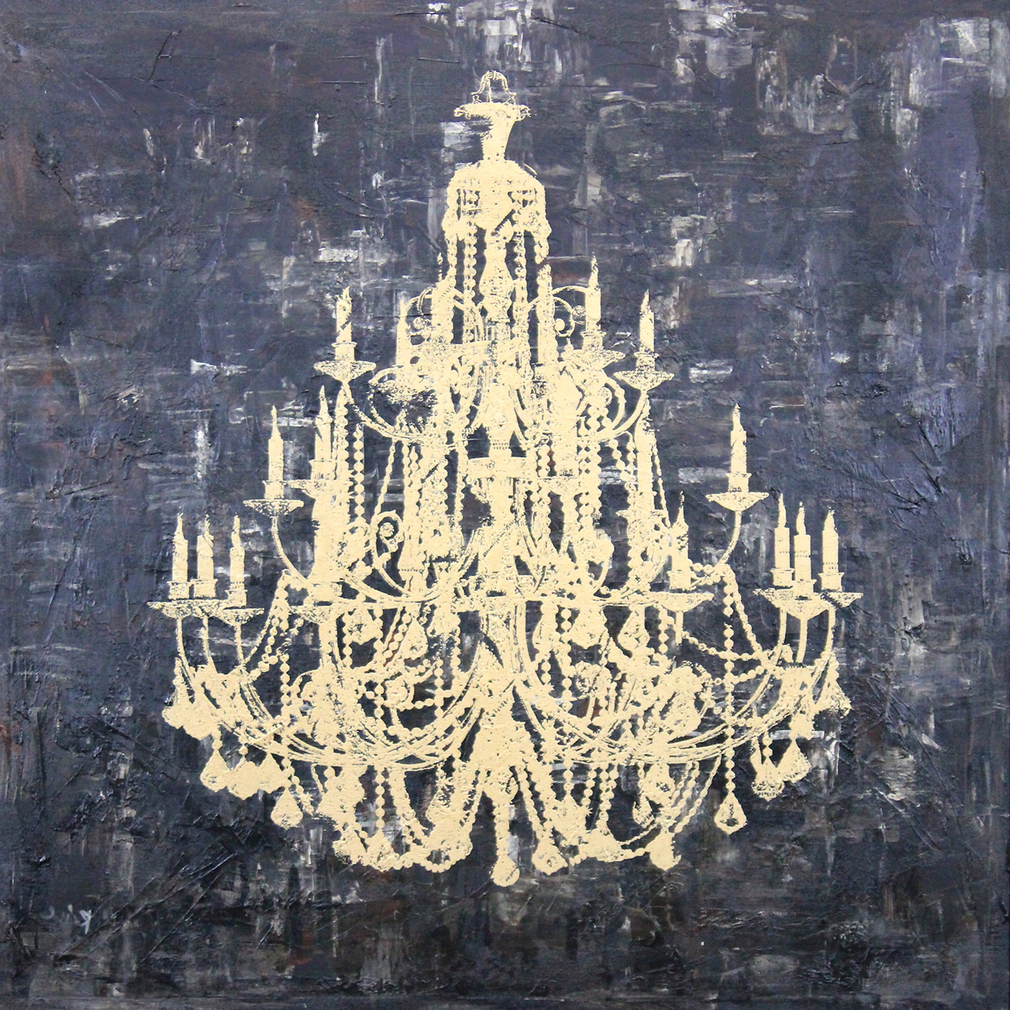 Metal Chandelier Wall Art Intended For Well Known Art In Style 'gold Chandelier' Hand Painted On Canvas Wall Art (View 10 of 15)