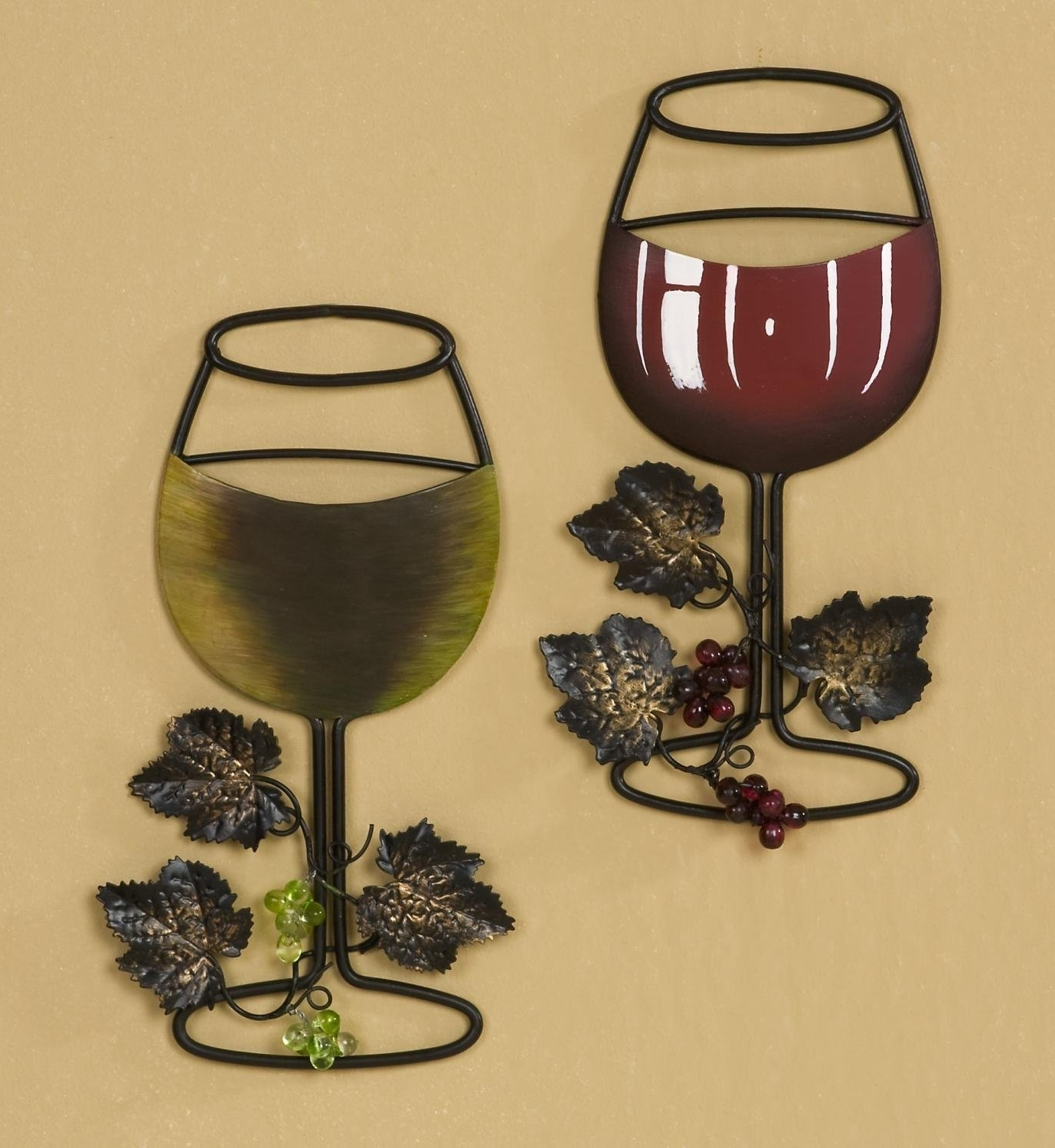 Metal Grape Wall Art Inside Newest Amazon: Tripar Wall Metal Wine Art – Red Wine / White Wine (View 7 of 15)