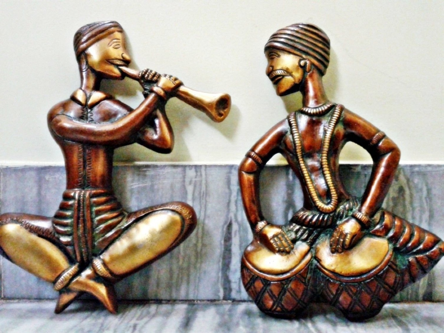 "Metal Music Wall Art Within Latest Craftvatika's 9"" Pair Of Musician Wall Hanging  Large Metal Wall (View 8 of 15)"