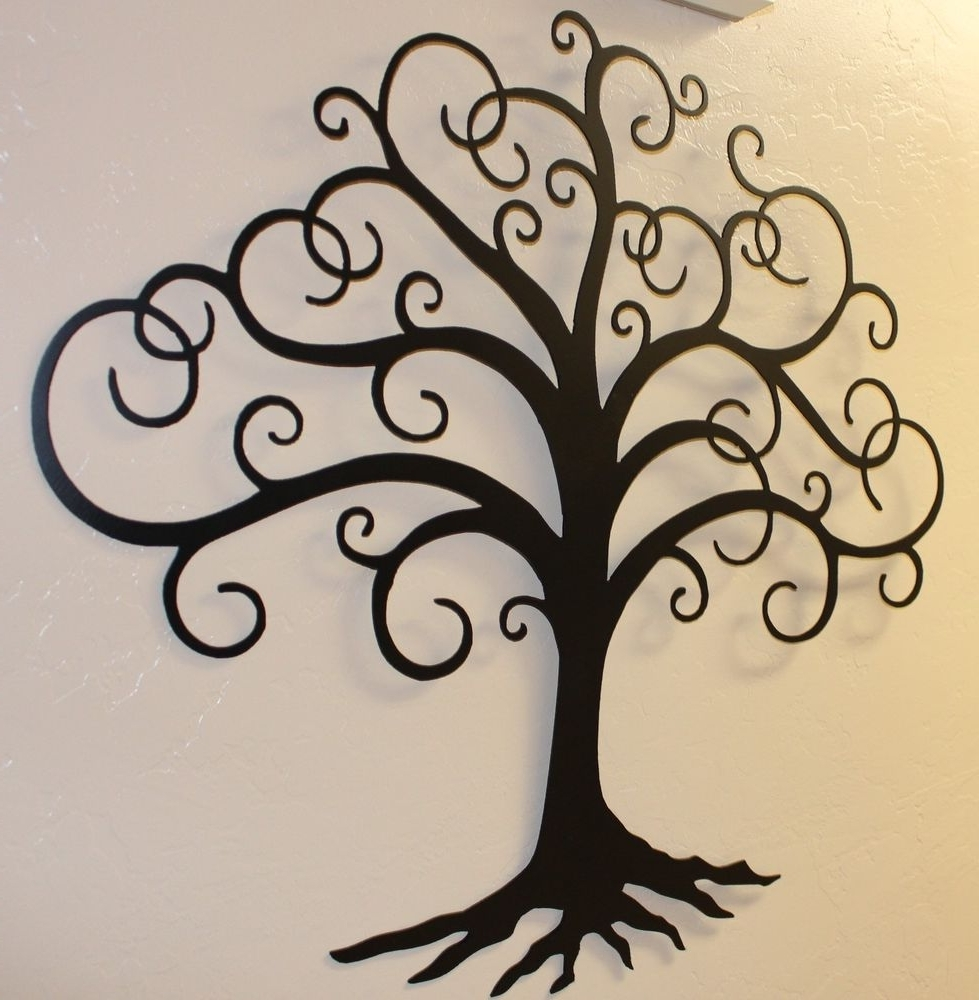 Metal Oak Tree Wall Art Intended For Most Popular Joyous Vinyl Wall Art Decal Sticker Blowing Leaves Treeshapes (View 2 of 15)