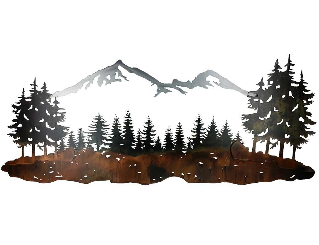 Metal Pine Tree Wall Art With Regard To Famous Smw324 Custom Metal Wall Art Sisters Mountain Landscape – Sunriver (View 5 of 15)