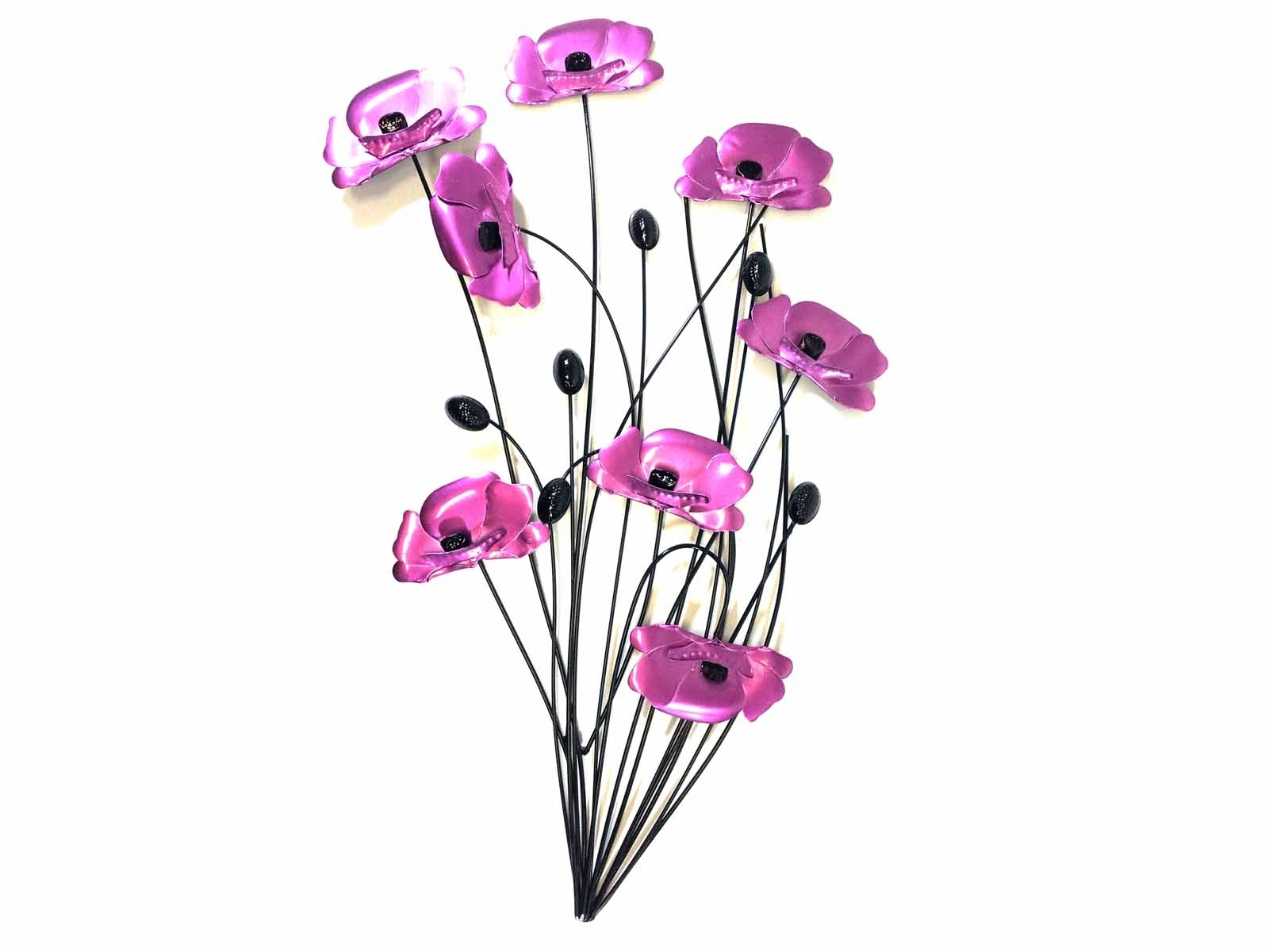 Metal Poppy Wall Art For 2018 Metal Wall Art – Purple Pink Poppy Flower Bunch (View 7 of 15)