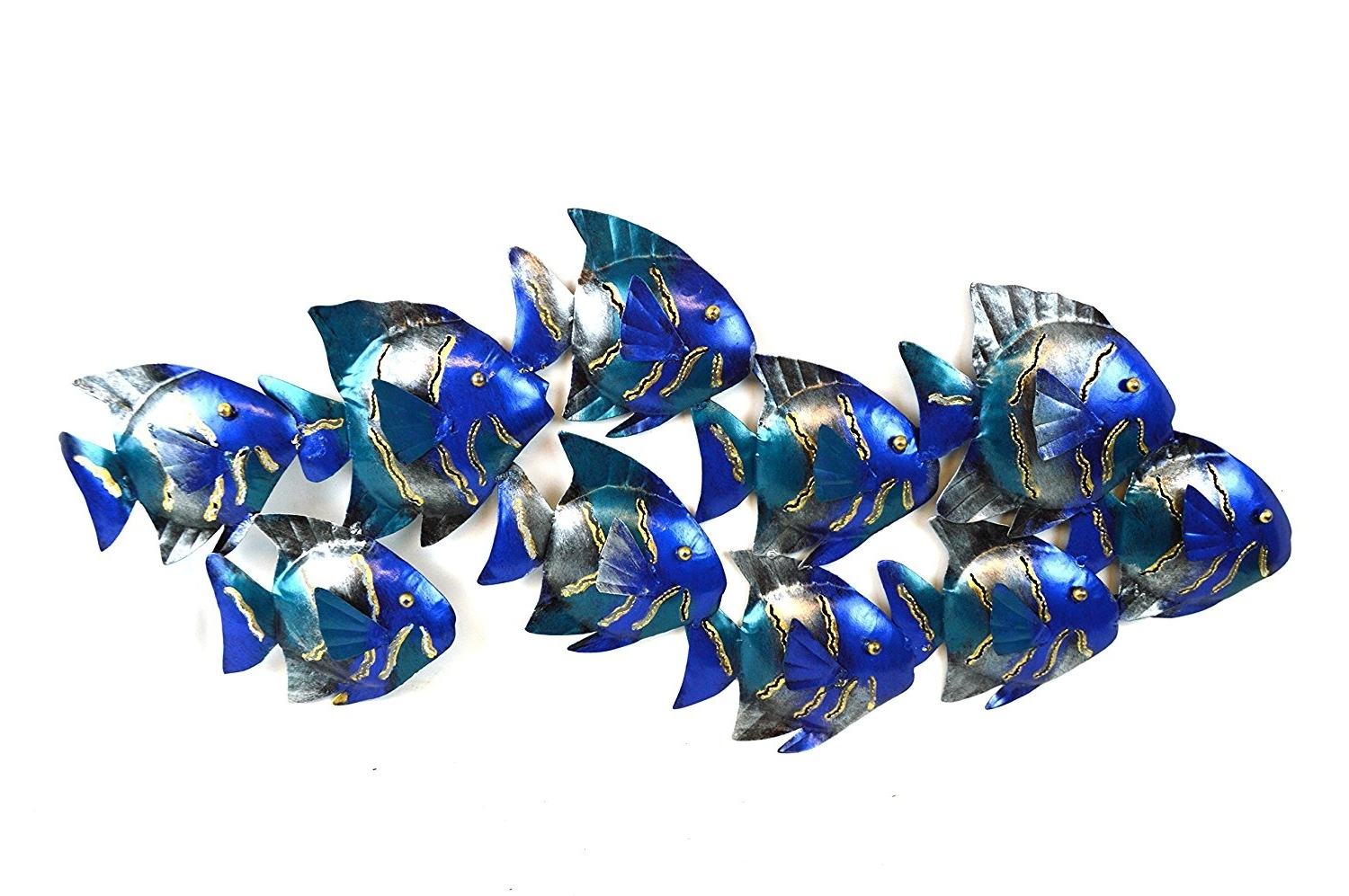 Metal School Of Fish Wall Art Intended For 2017 Amazon: Beautiful Unique Blue Nautical School Of Fish (View 3 of 15)