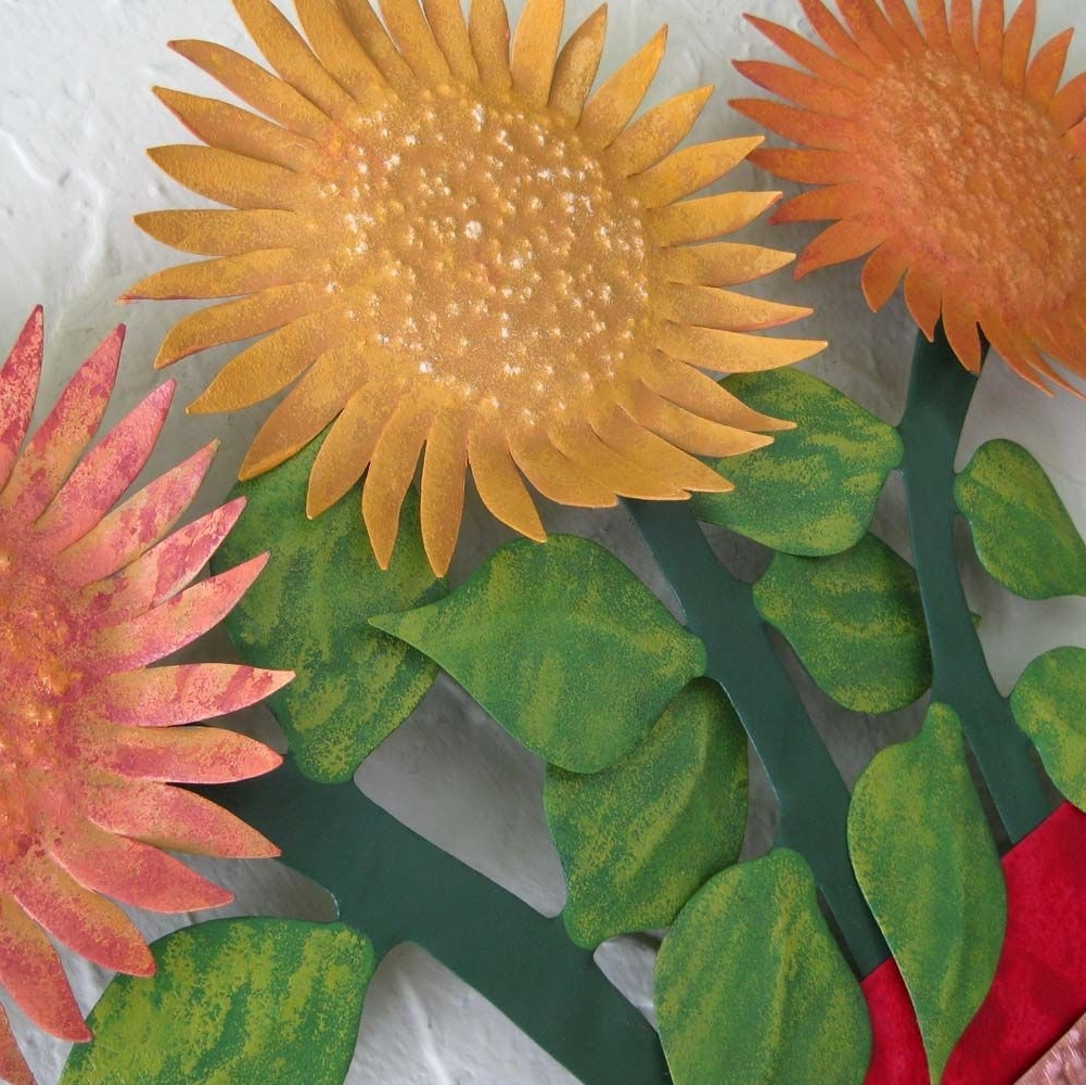 Metal Sunflower Wall Art With Current Hand Crafted Metal Sunflower Wall Art Sculpture Floral Art Home (View 10 of 15)
