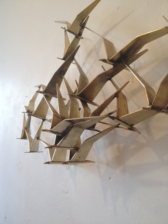 Metal Wall Art Birds In Flight Inside Most Popular Vintage Curtis Jere Birds In Flight Wall Sculpture In Brass (View 8 of 15)