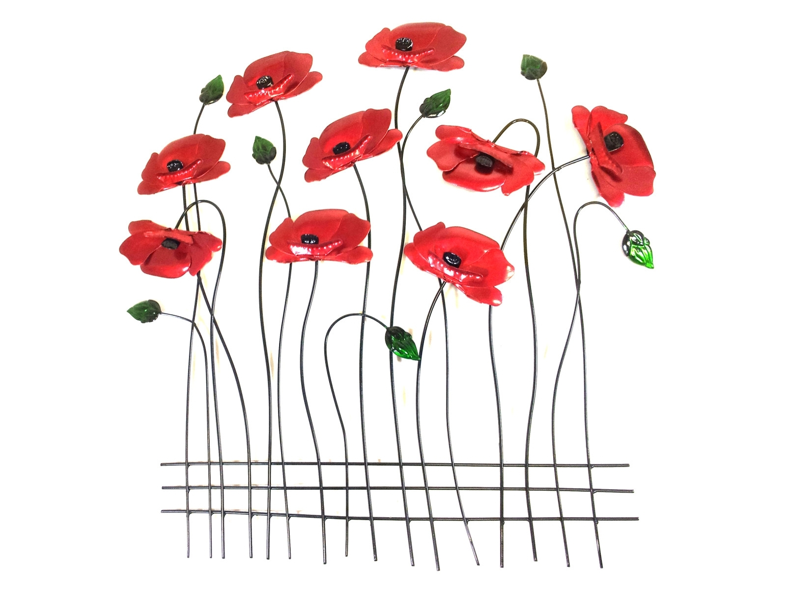 Metal Wall Art – Poppy Flower Scene Regarding Preferred Metal Poppy Wall Art (View 1 of 15)
