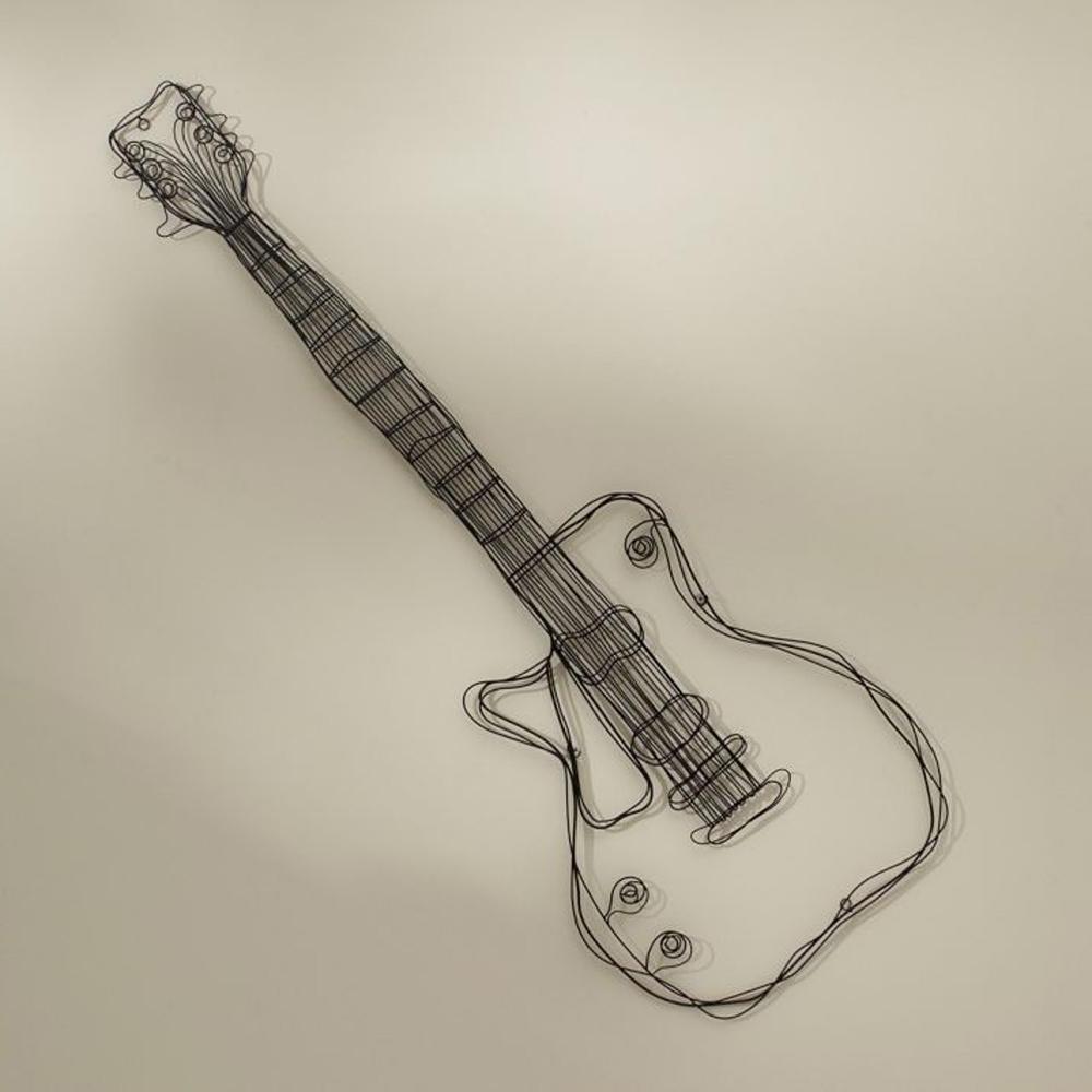 Metal Wire Guitar Wall Decor Art Music Wall Sculpture Wire Headset Regarding Famous Guitar Metal Wall Art (View 5 of 15)