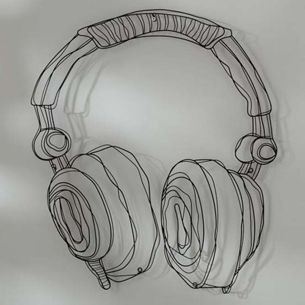 Metal Wire Guitar Wall Decor Art Music Wall Sculpture Wire Headset With Popular Wire Wall Art Decors (View 3 of 15)