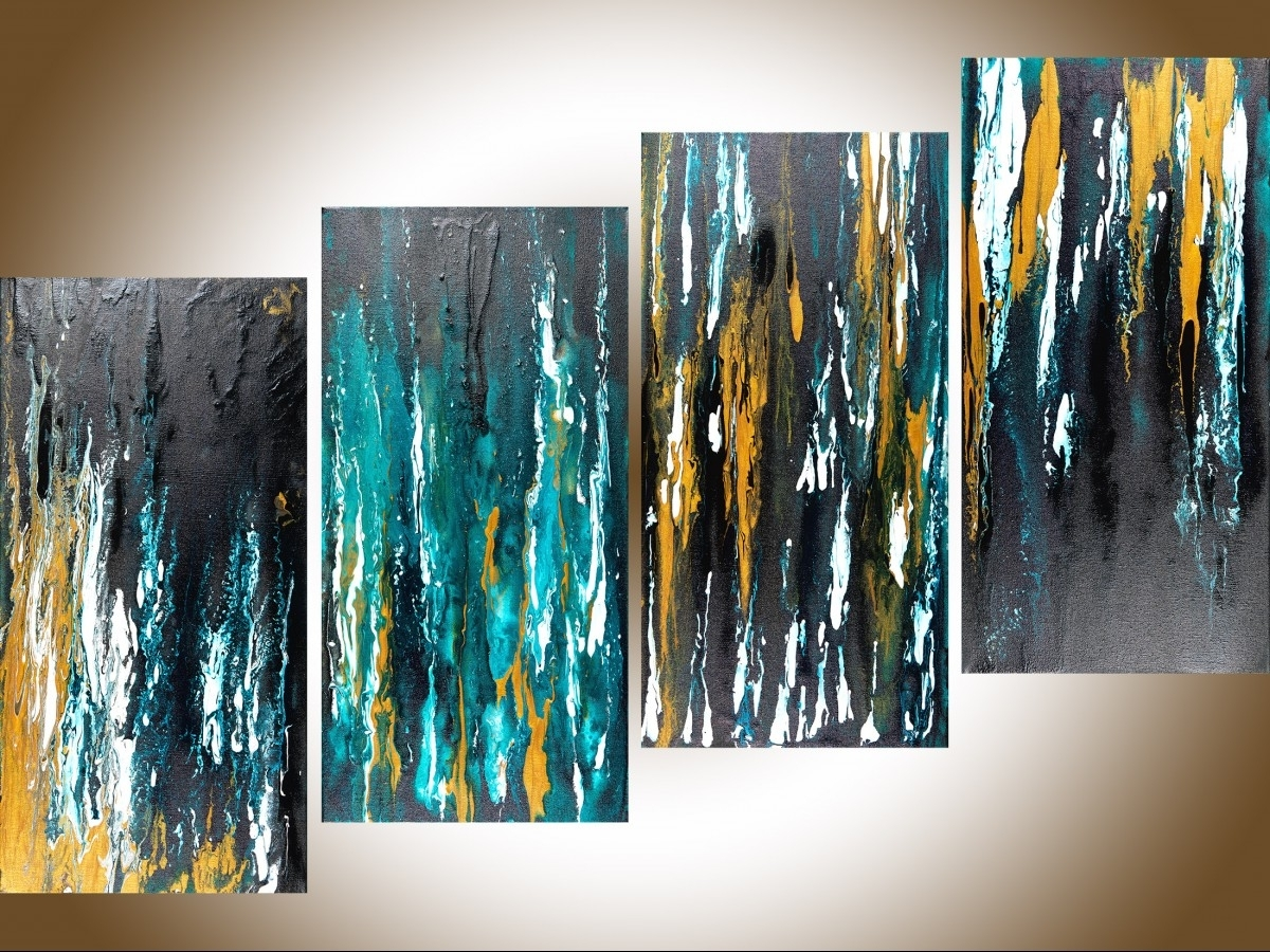 "Meteor Shower Iiqiqigallery 48""x24"" Original Modern Abstract In Preferred Blue And White Wall Art (View 5 of 15)"