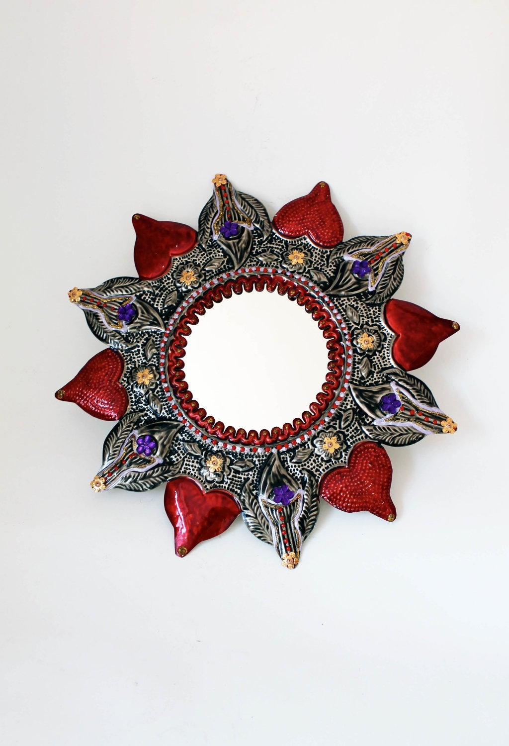 Mexican Metal Art Within Fashionable Silver Red Star Sun Round Tin Metal Mirror / Mexican Folk Art (View 7 of 15)