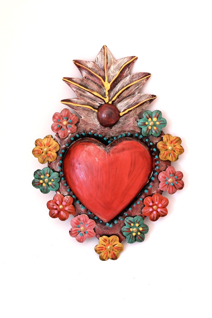 Mexican Metal Wall Art For Popular Wall Arts ~ Mexican Metal Wall Art For Sale Tin Sacred Heart (View 3 of 15)