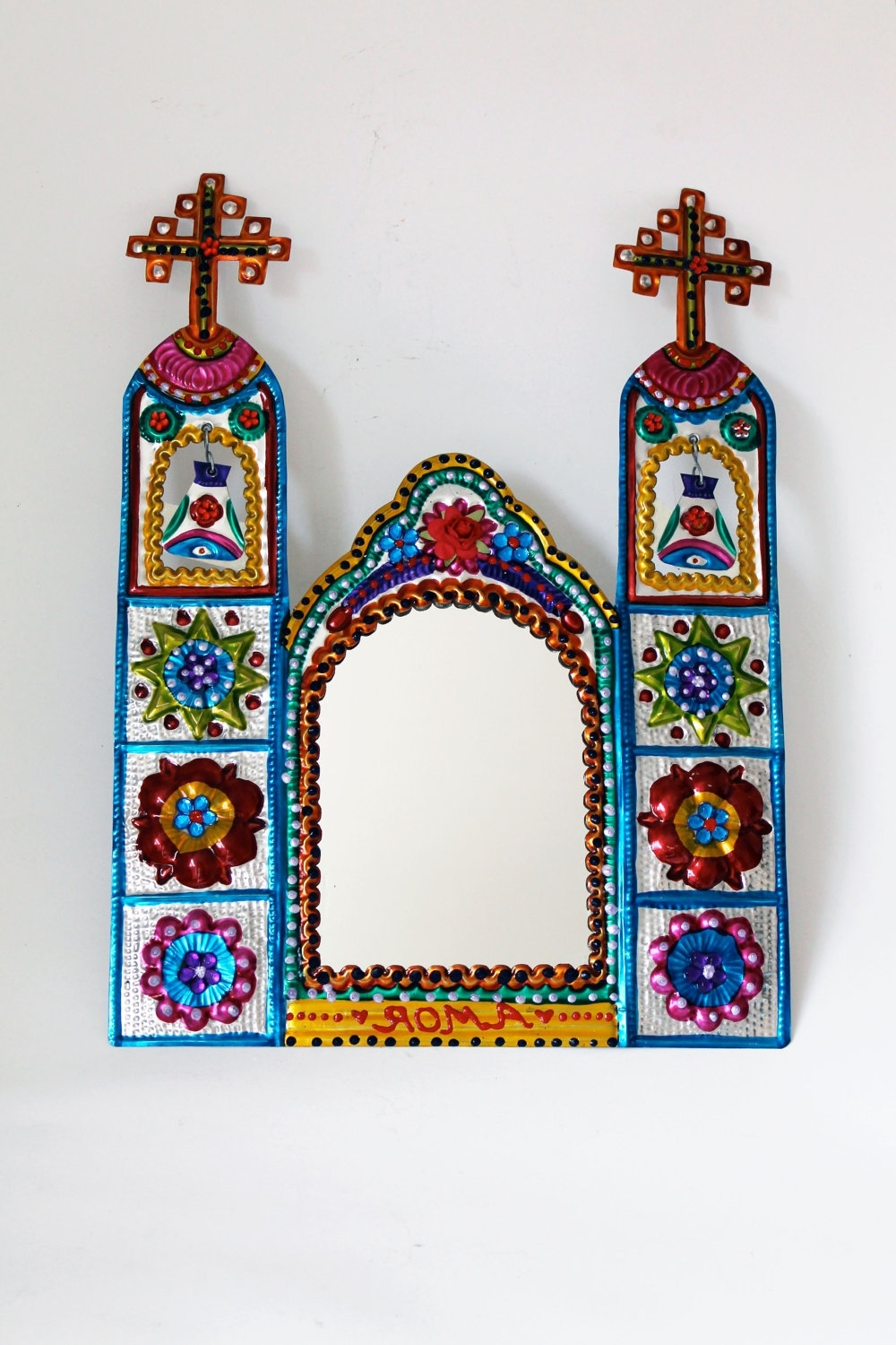 Mexico Church Tin Metal Mirror / Mexican (View 9 of 15)