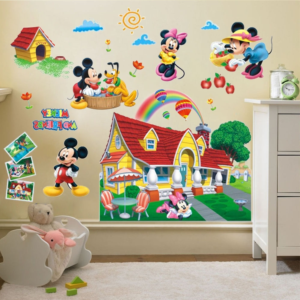 Mickey Mouse Clubhouse Wall Art Regarding 2018 Pop 3D Mickey Mouse Clubhouse Wall Stickers Kids Bedroom Decor (View 9 of 15)