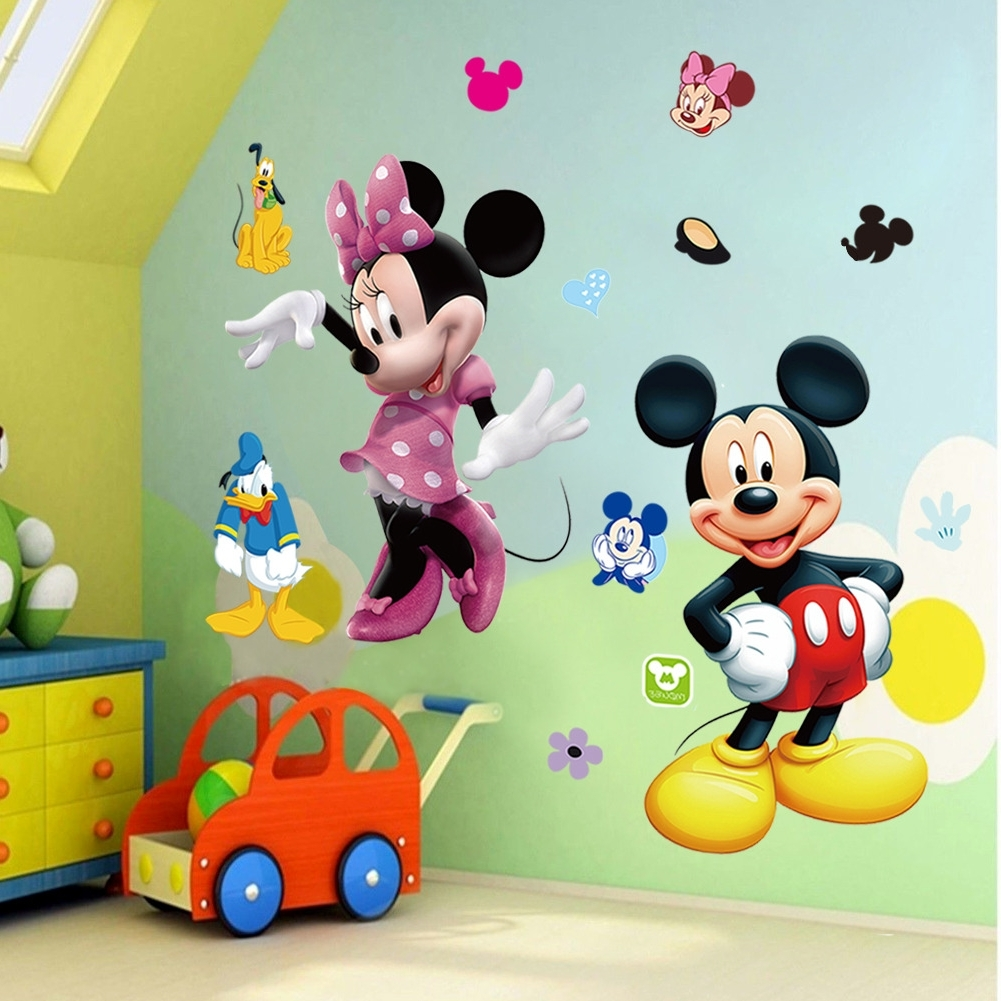 Mickey Mouse Minnie Vinyl Mural Wall Sticker Decals Kids Nursery For Popular Mickey Mouse Clubhouse Wall Art (View 9 of 15)
